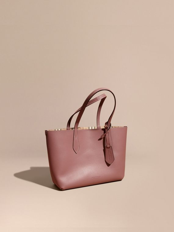 The Small Reversible Tote in Haymarket Check and Leather Light Elderberry