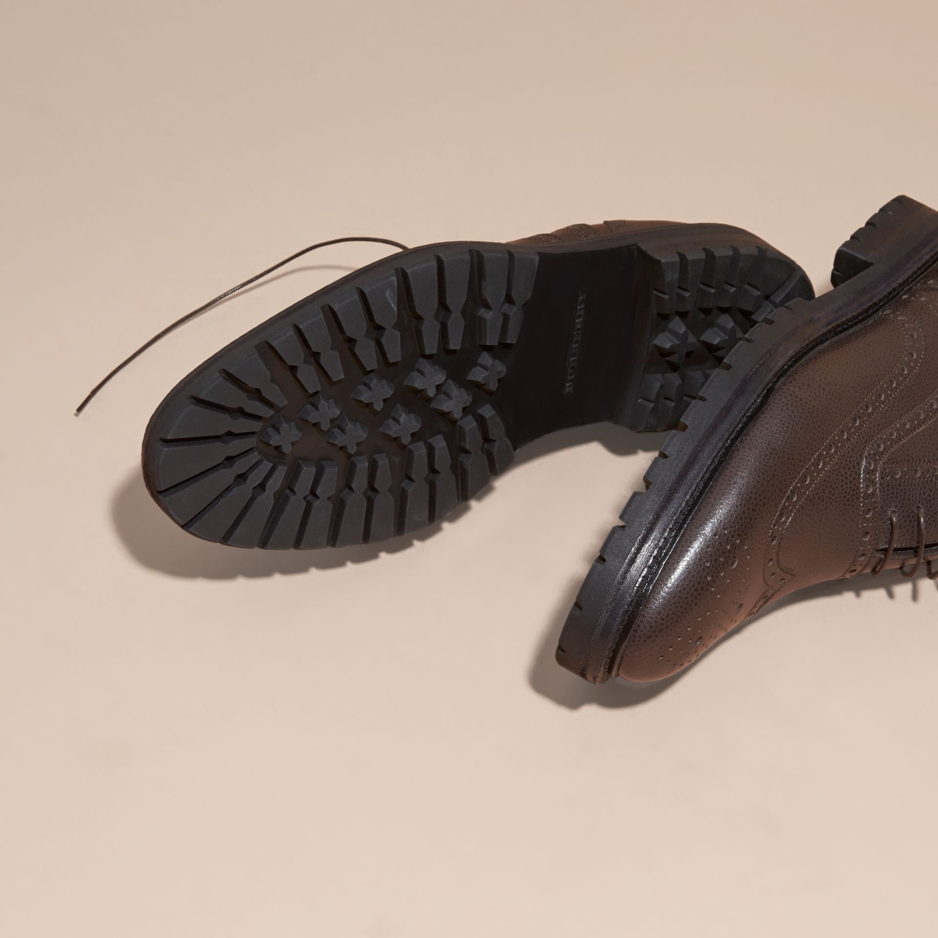 Bitter chocolate Grainy Leather Wingtip Brogue with Rubber Sole Bitter Chocolate - gallery image 5