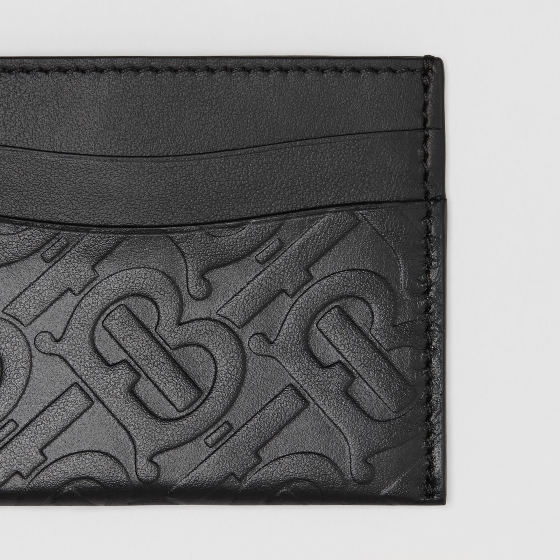 Monogram Leather Card Case in Black - Women | Burberry - gallery image 1