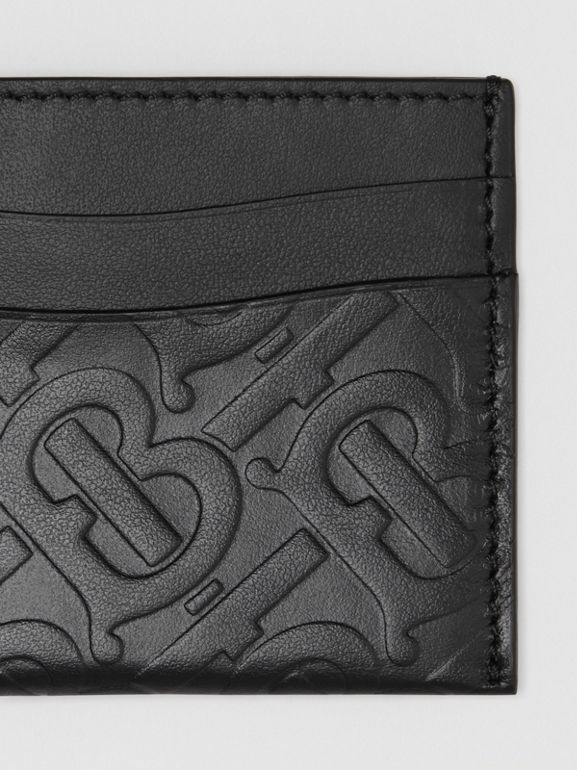 Monogram Leather Card Case in Black - Women | Burberry Canada - cell image 1