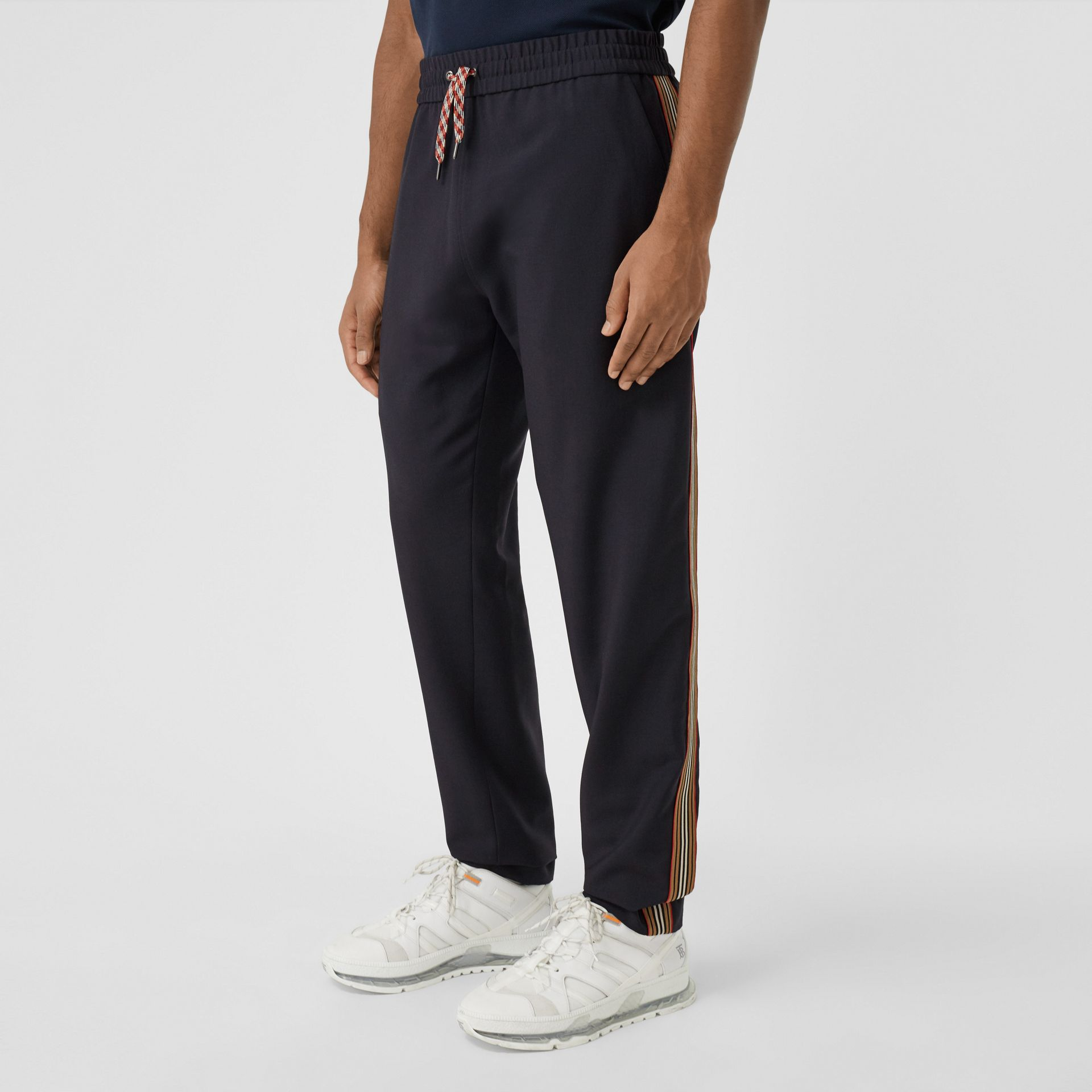 Icon Stripe Detail Wool Mohair Trackpants in Navy - Men | Burberry - gallery image 4