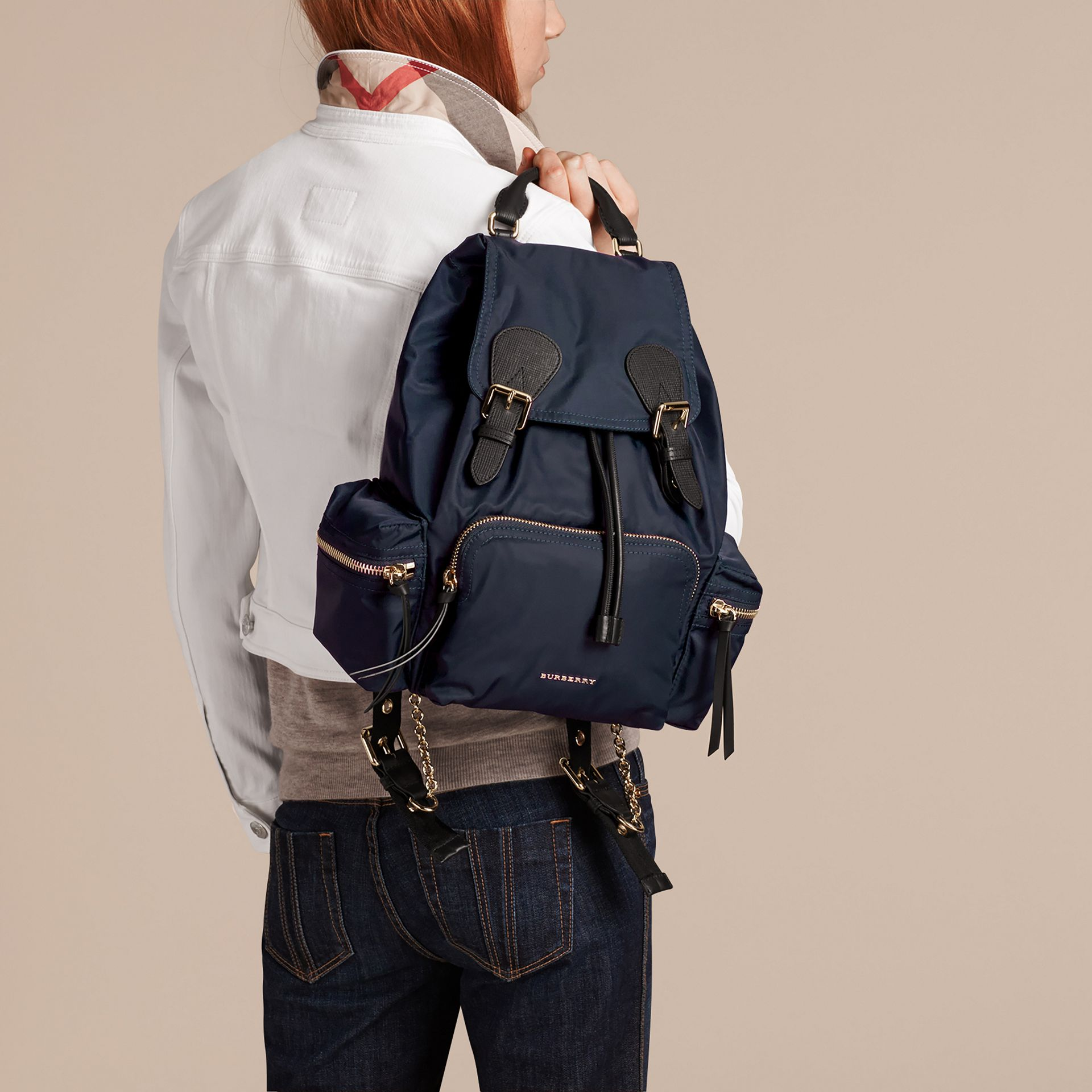 The Medium Rucksack in Technical Nylon and Leather in Ink Blue - gallery image 3
