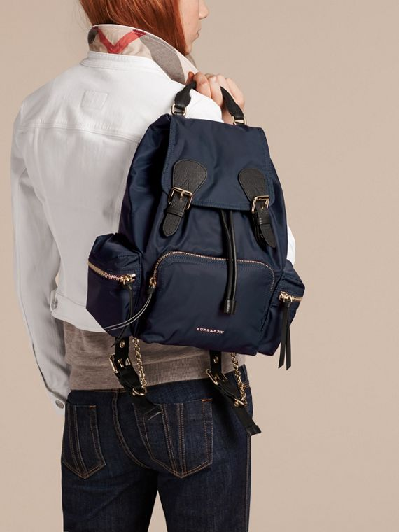 The Medium Rucksack in Technical Nylon and Leather in Ink Blue - cell image 2