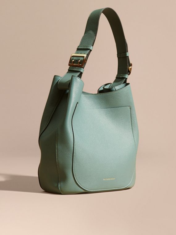 Textured Leather Shoulder Bag Eucalyptus Green
