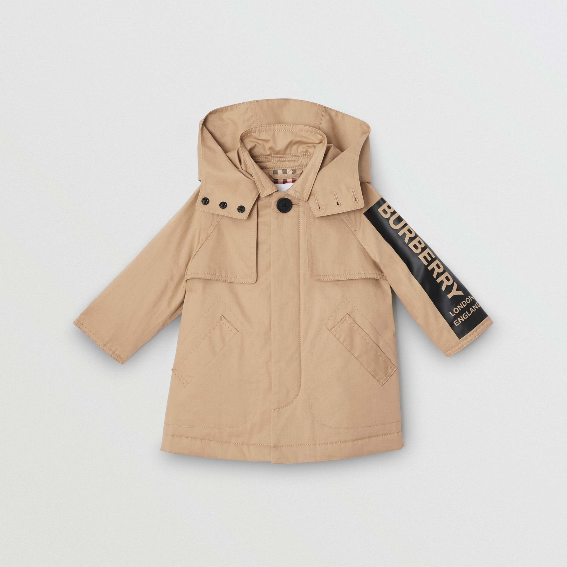 Detachable Hood Logo Print Cotton Twill Car Coat in Honey - Children | Burberry United Kingdom - gallery image 0