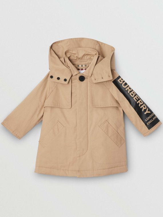 Detachable Hood Logo Print Cotton Twill Car Coat in Honey