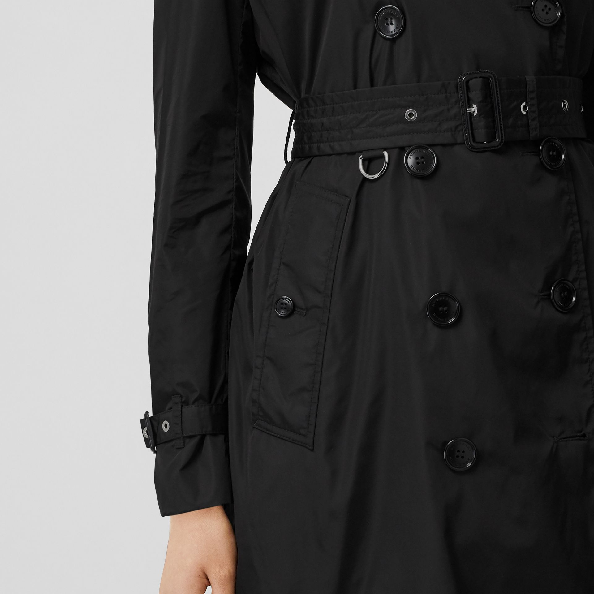 Detachable Hood ECONYL® Trench Coat in Black - Women | Burberry - gallery image 4