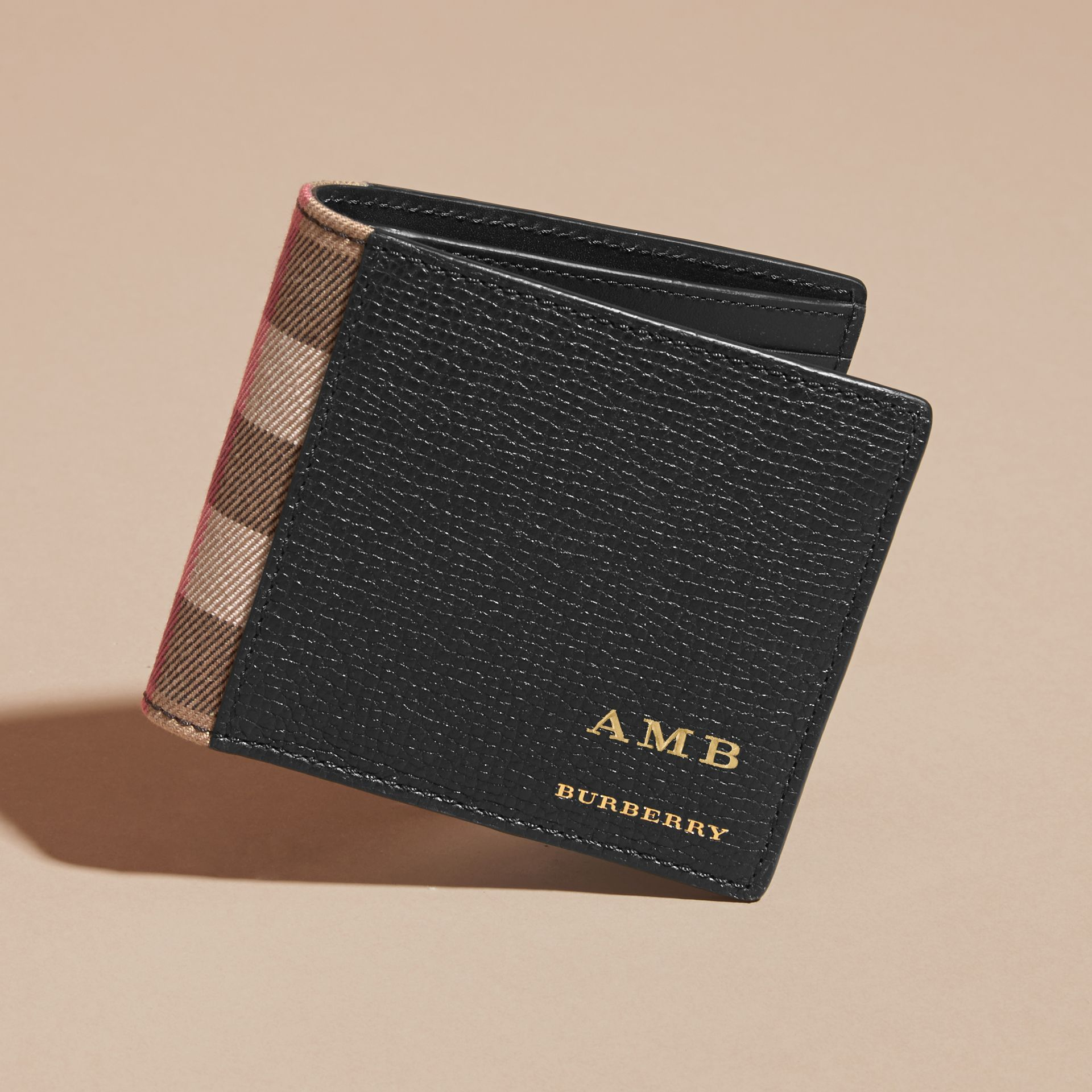 Leather and House Check International Bifold Wallet in Black | Burberry - gallery image 7