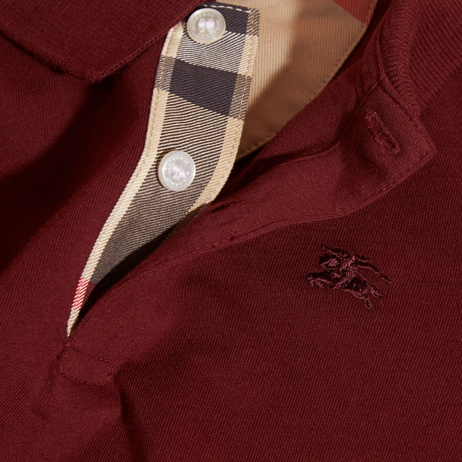 Burgundy red Long-sleeved Cotton Polo Shirt Burgundy Red - gallery image 2