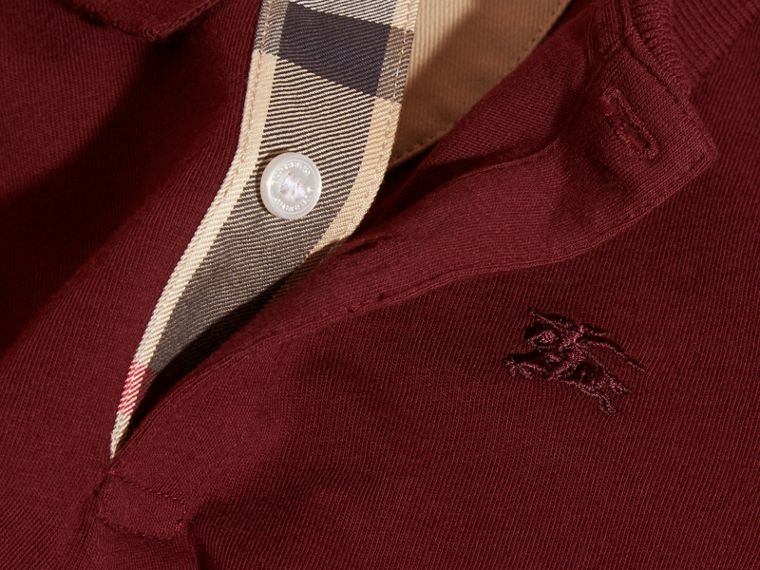 Burgundy red Long-sleeved Cotton Polo Shirt Burgundy Red - cell image 1