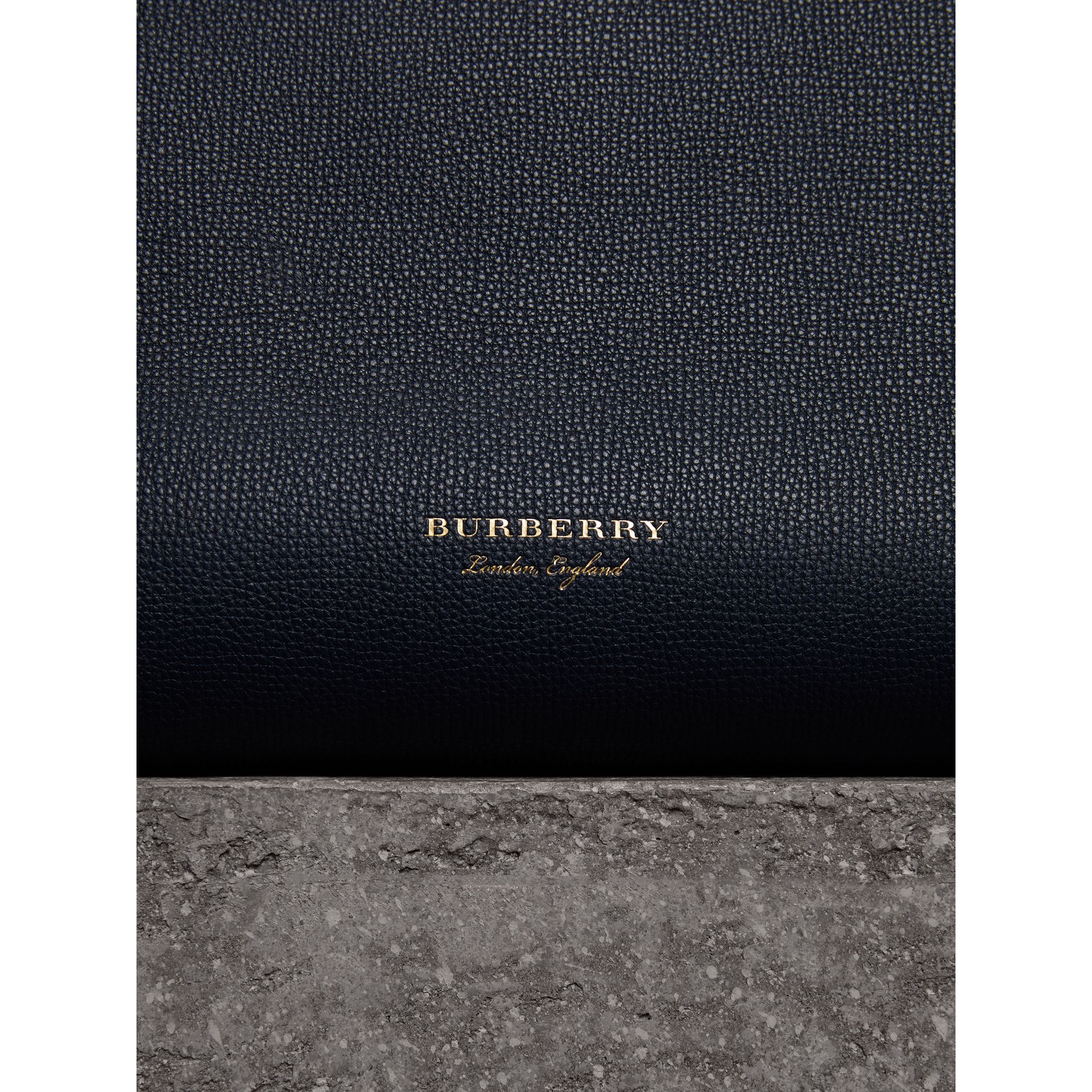 The Medium Banner in Leather and House Check in Ink Blue - Women | Burberry Canada - gallery image 1