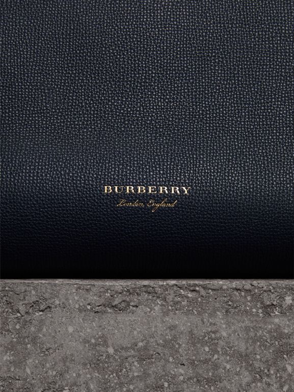 The Medium Banner in Leather and House Check in Ink Blue - Women | Burberry - cell image 1