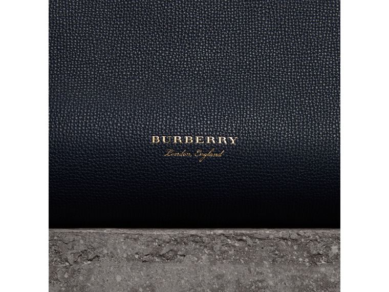 The Medium Banner in Leather and House Check in Ink Blue - Women | Burberry Canada - cell image 1