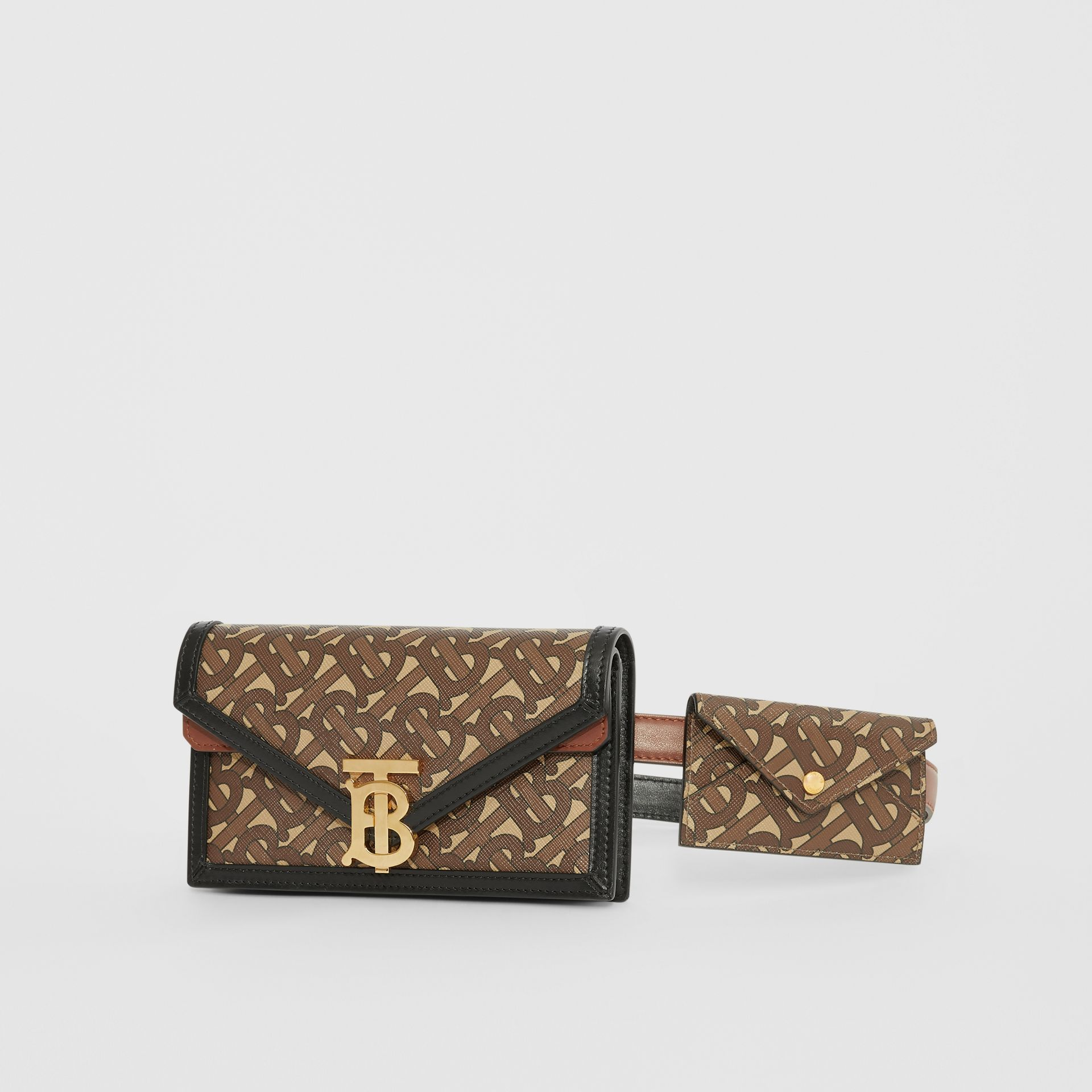 Belted Monogram E-canvas TB Envelope Clutch in Bridle Brown - Women | Burberry - gallery image 5