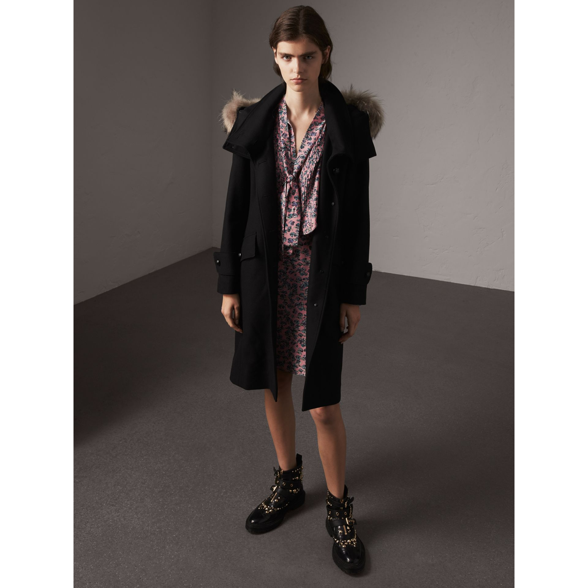 Hooded Wool Blend Coat with Detachable Fur Trim in Black - Women | Burberry Singapore - gallery image 1