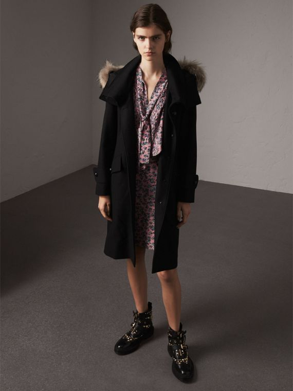 Hooded Wool Blend Coat with Detachable Fur Trim - Women | Burberry