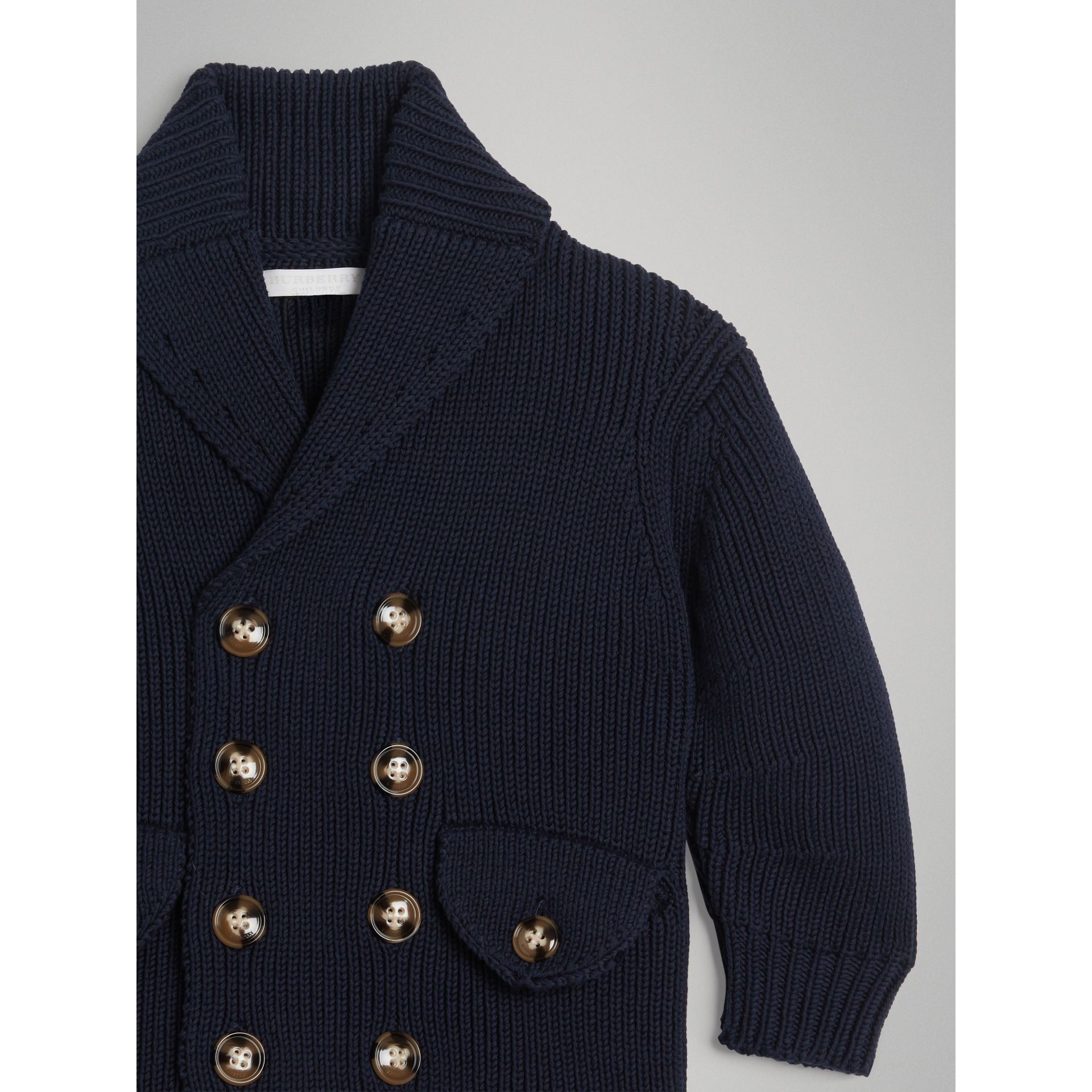 Cotton Knit Pea Coat Cardigan in Navy | Burberry - gallery image 4
