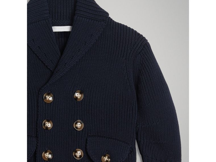 Cotton Knit Pea Coat Cardigan in Navy - Boy | Burberry - cell image 4