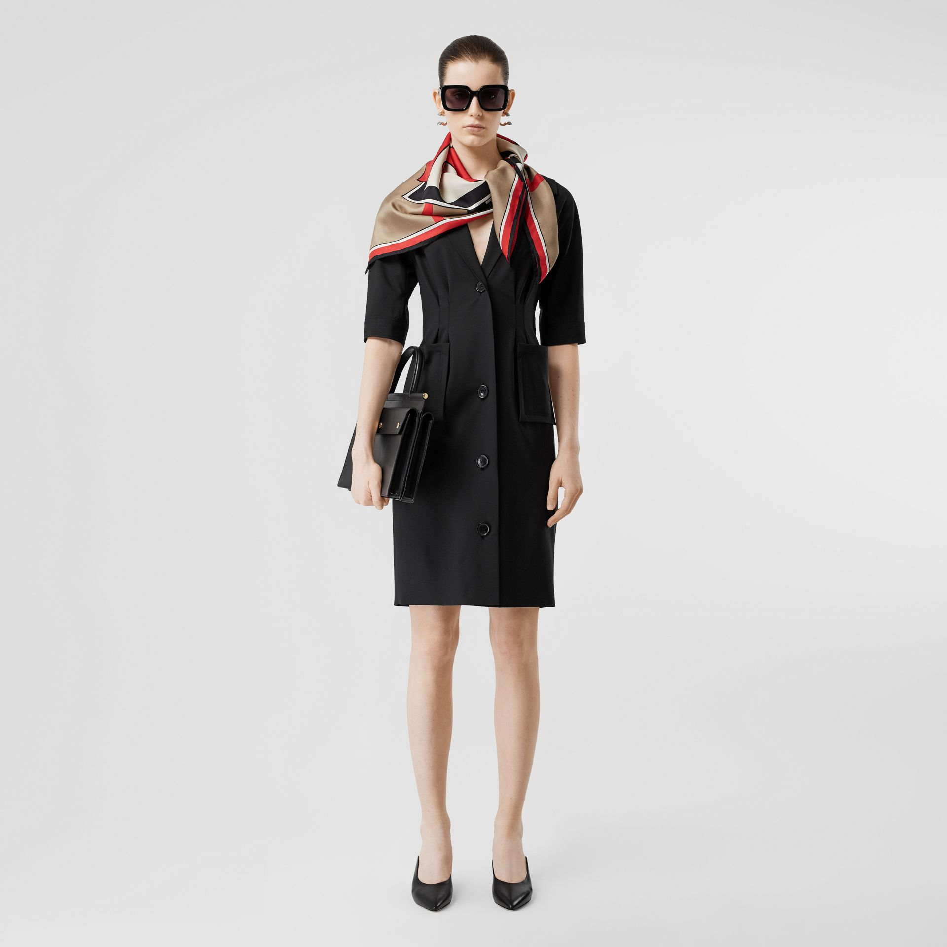 Short-sleeve Stretch Wool Dress in Black - Women | Burberry - gallery image 0
