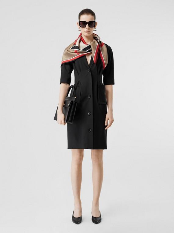 Short-sleeve Stretch Wool Dress in Black