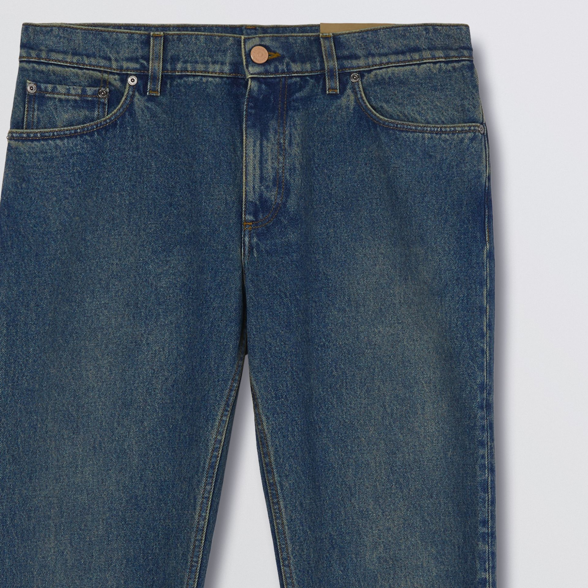 Straight Fit Washed Jeans in Indigo - Men | Burberry - gallery image 5