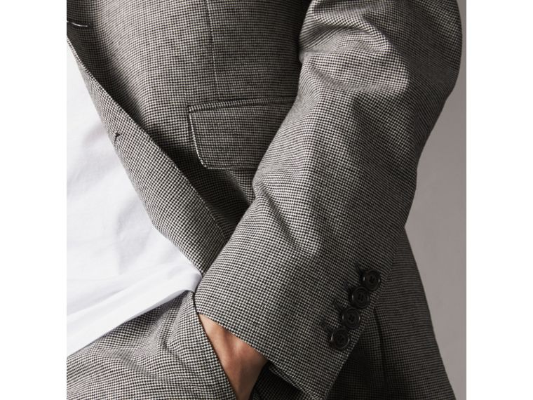 Micro Houndstooth Cotton Wool Blend Blazer in Charcoal - Men | Burberry Australia - cell image 1
