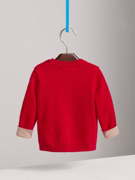 Check Cuff Cashmere Sweater in Parade Red | Burberry Australia - cell image 3