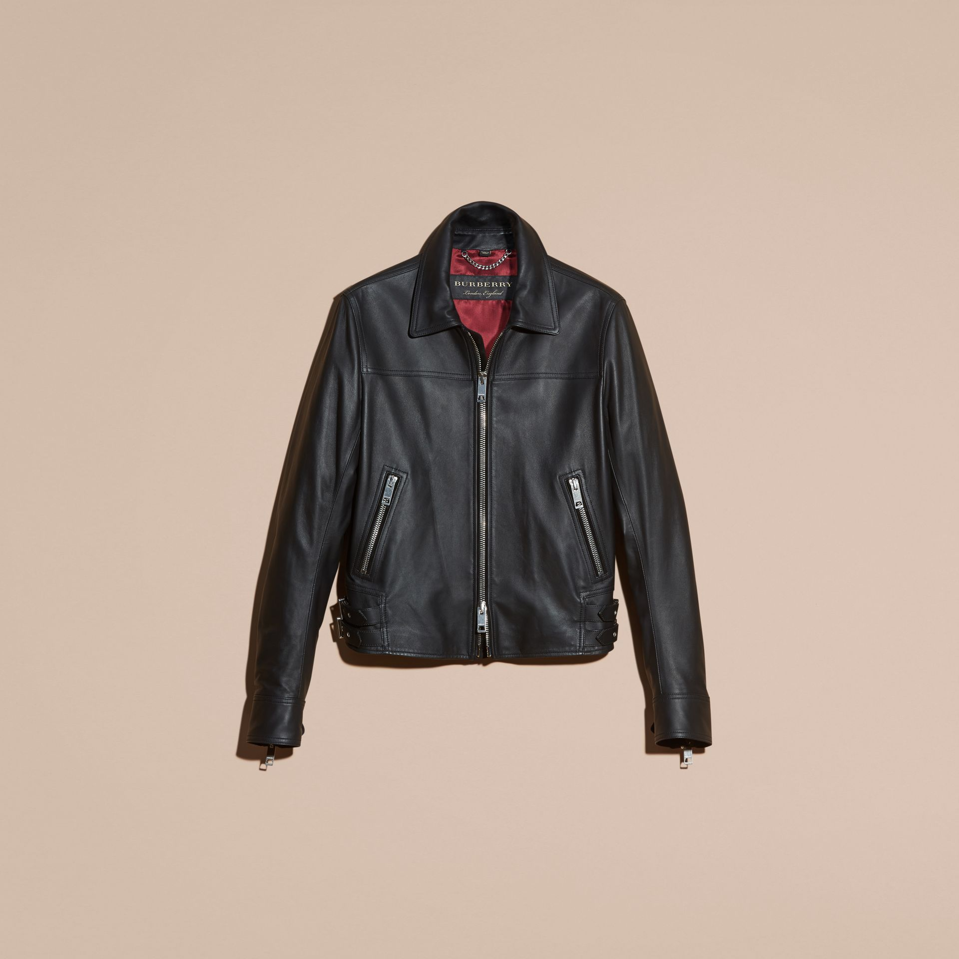 Black Smooth Leather Jacket - gallery image 4