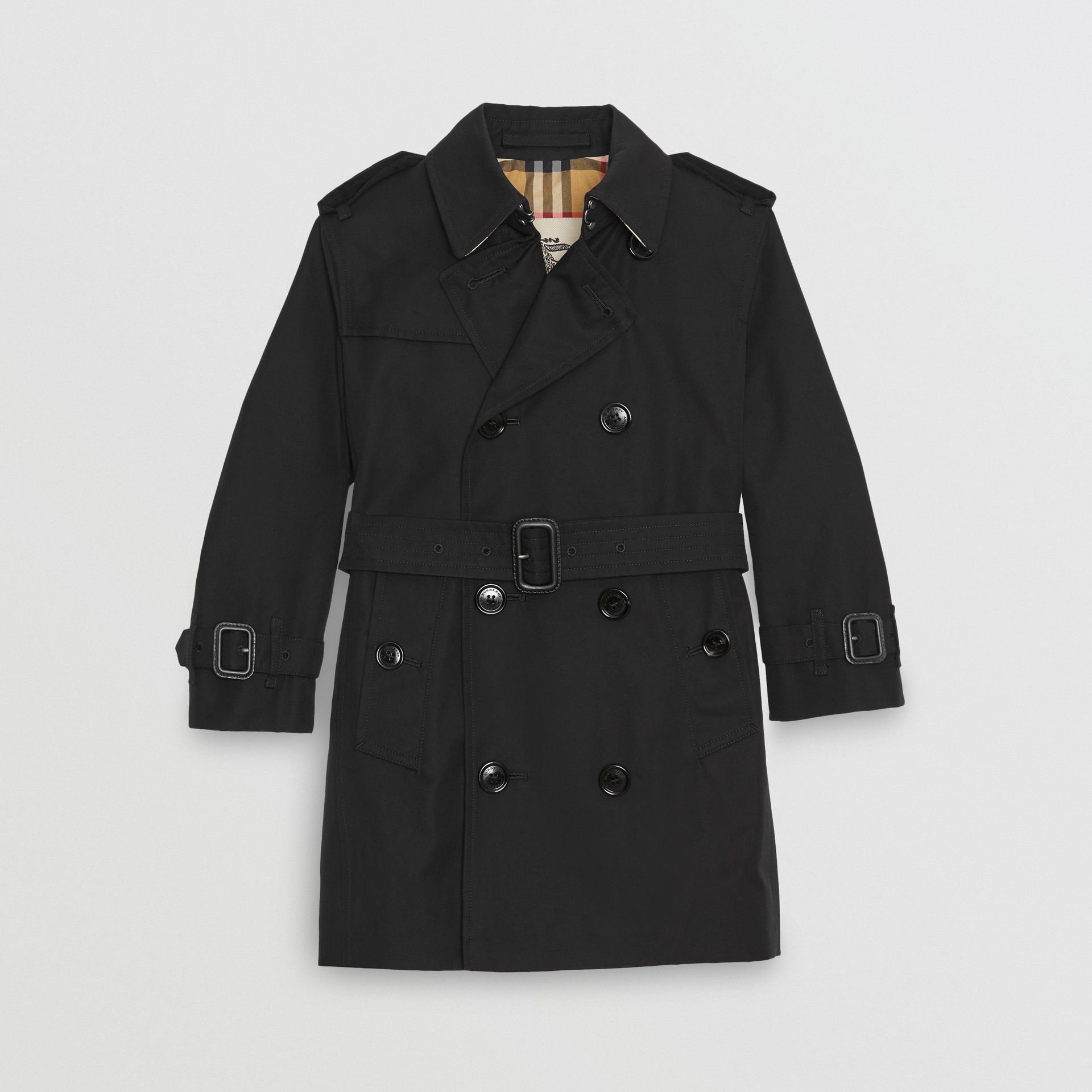 Cotton Gabardine Trench Coat in Black | Burberry United States - gallery image 0