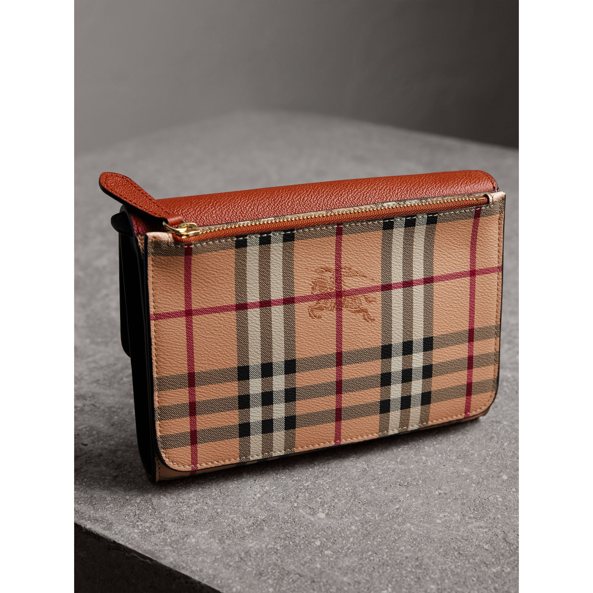 Haymarket Check and Leather Crossbody Bag in Bright Toffee/multi - Women | Burberry - gallery image 5
