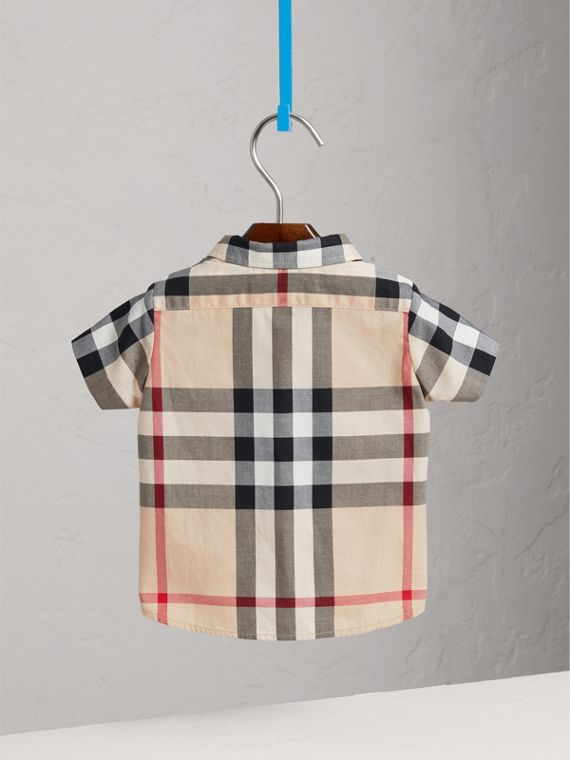 Camisa em sarja de algodão xadrez (Novo  Clássico) - Menino | Burberry - cell image 3
