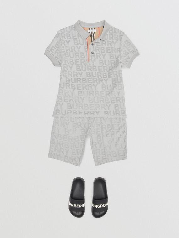 Polo en tissu éponge à logo (Gris Pâle)