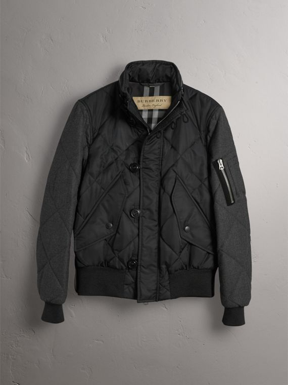 Packaway Hood Wool-sleeve Quilted Bomber Jacket in Black - Men | Burberry - cell image 3