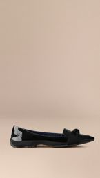 Patent Leather Loafers with Grosgrain Bow