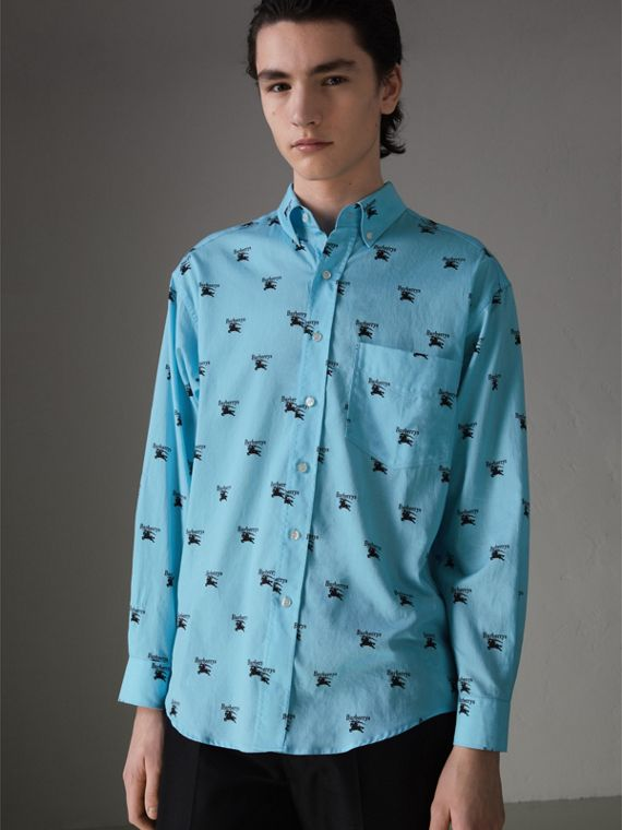 Button-down Collar Logo Print Cotton Shirt in Sky Blue