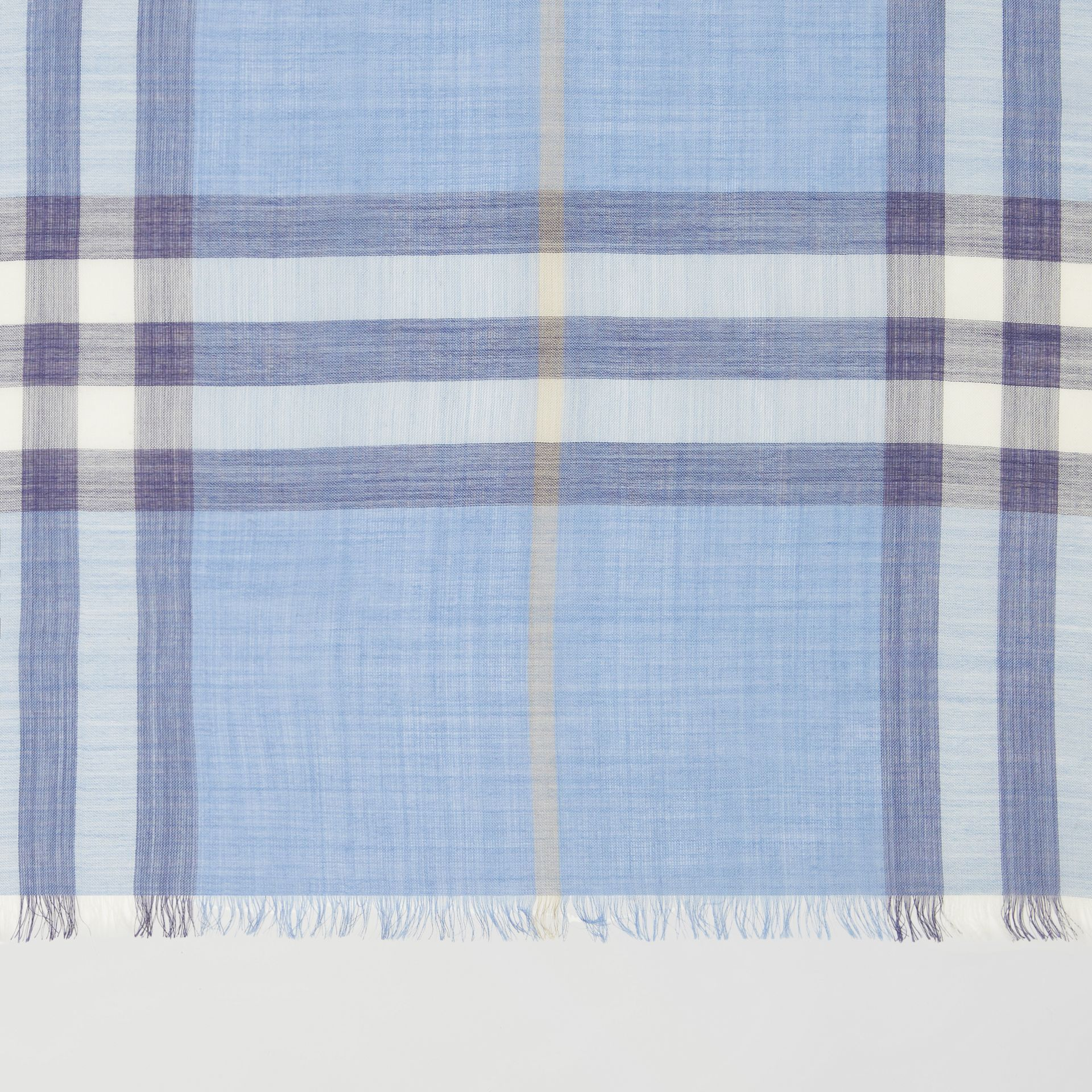 Lightweight Check Wool Silk Scarf in English Bluebell | Burberry United States - gallery image 1