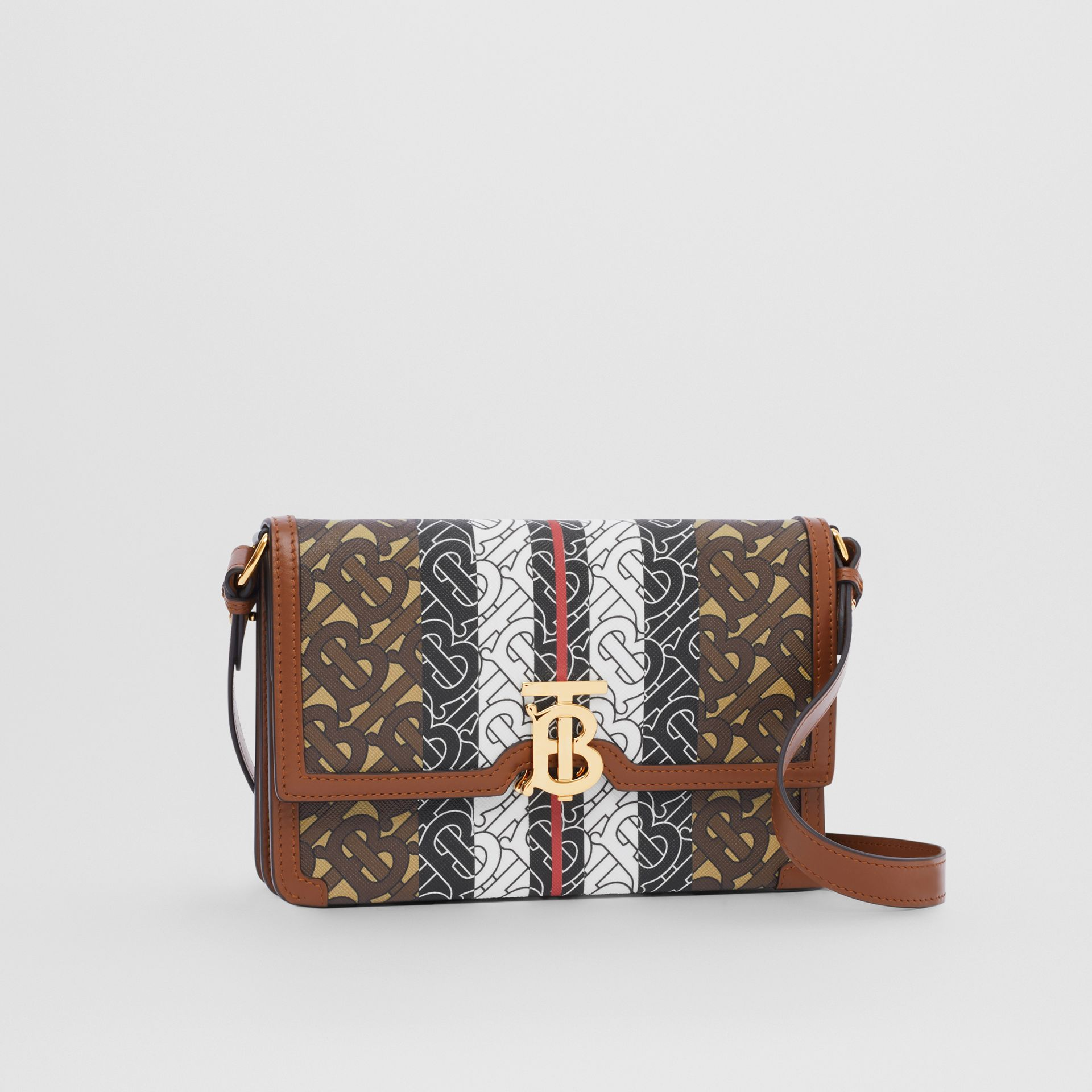 Small Monogram Stripe E-canvas Crossbody Bag in Bridle Brown - Women | Burberry United States - gallery image 4