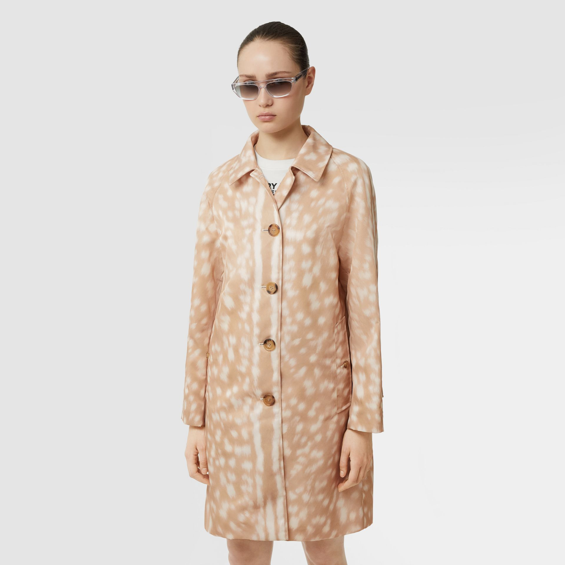 Deer Print Nylon Car Coat in Soft Fawn - Women | Burberry United Kingdom - gallery image 5