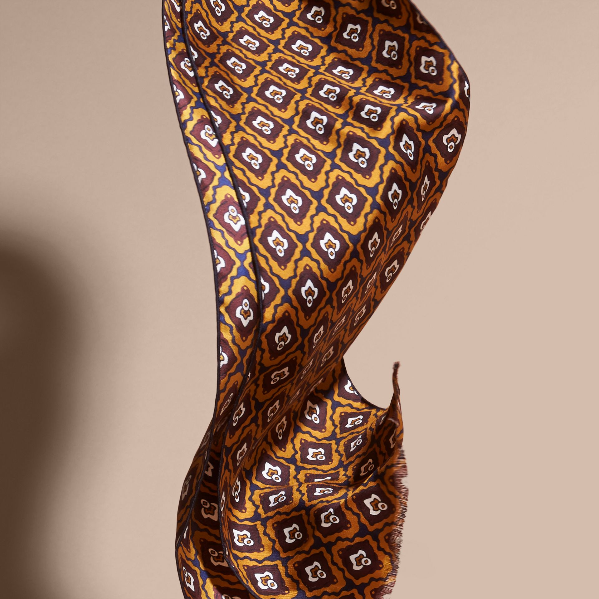 Umber yellow Tie-inspired Print Silk Scarf - gallery image 4