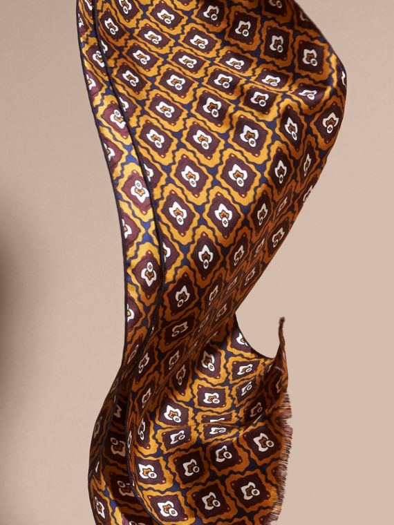 Umber yellow Tie-inspired Print Silk Scarf - cell image 3