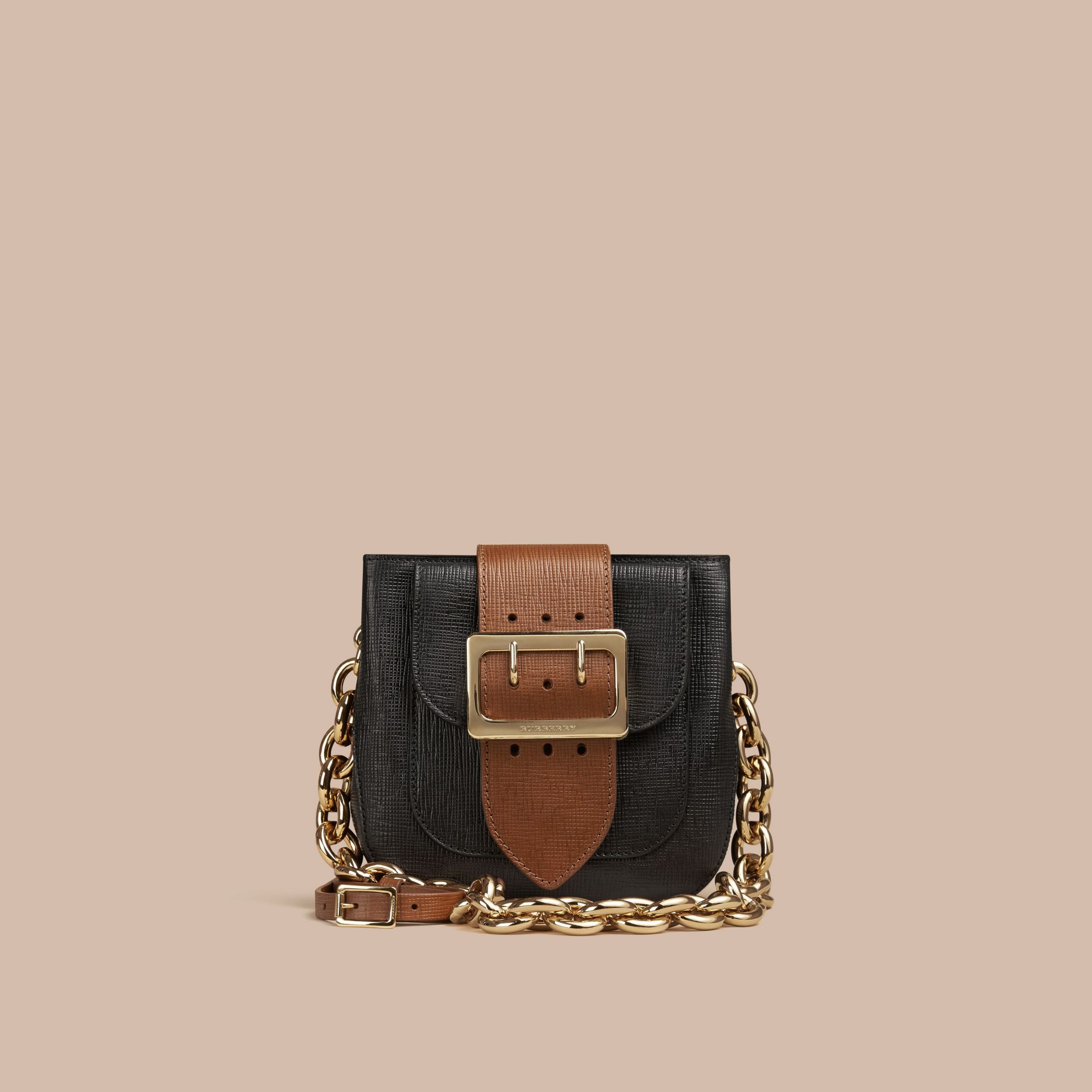 Black The Small Square Buckle Bag in Leather - gallery image 7