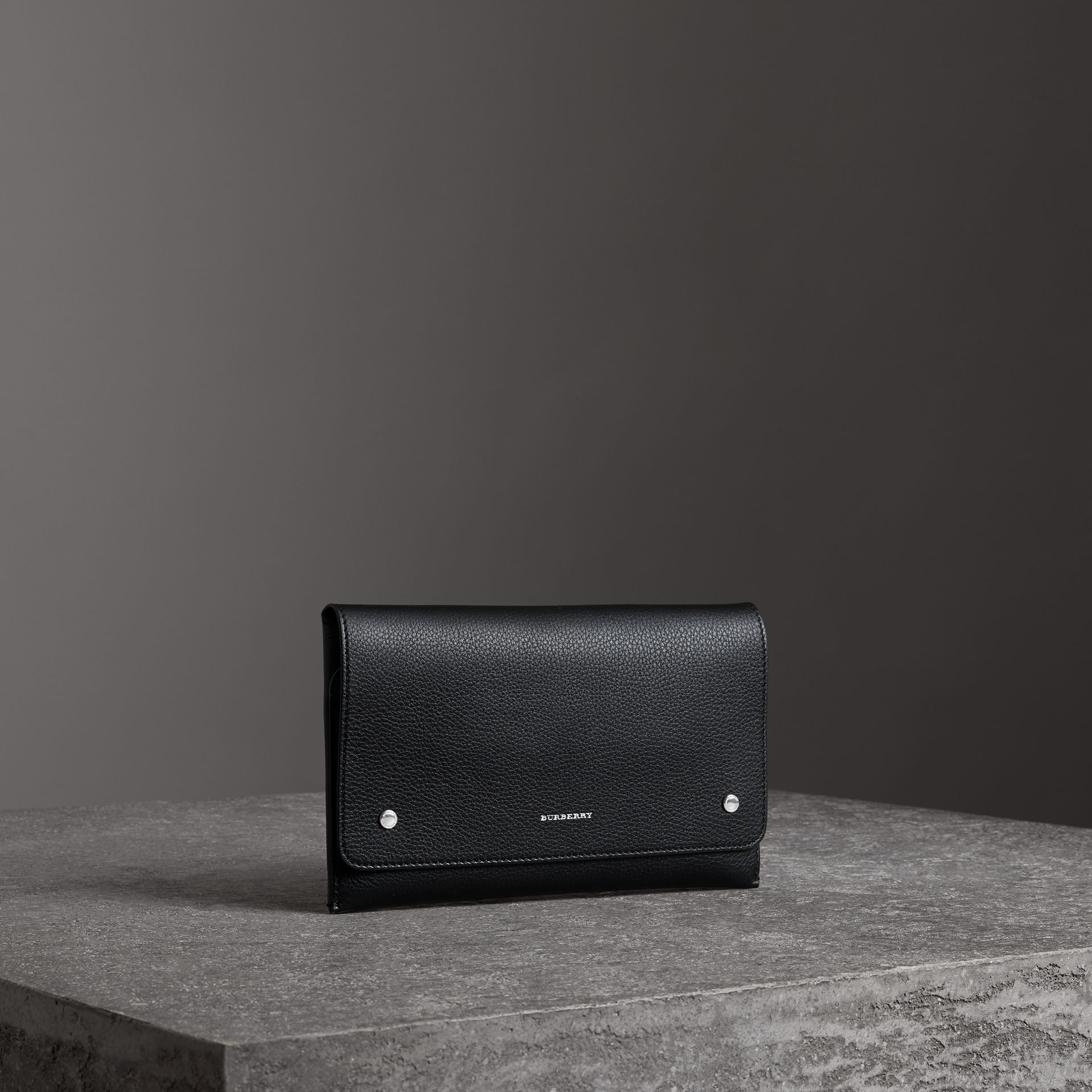 Two-tone Leather Wristlet Clutch in Black - Women | Burberry United States - gallery image 6