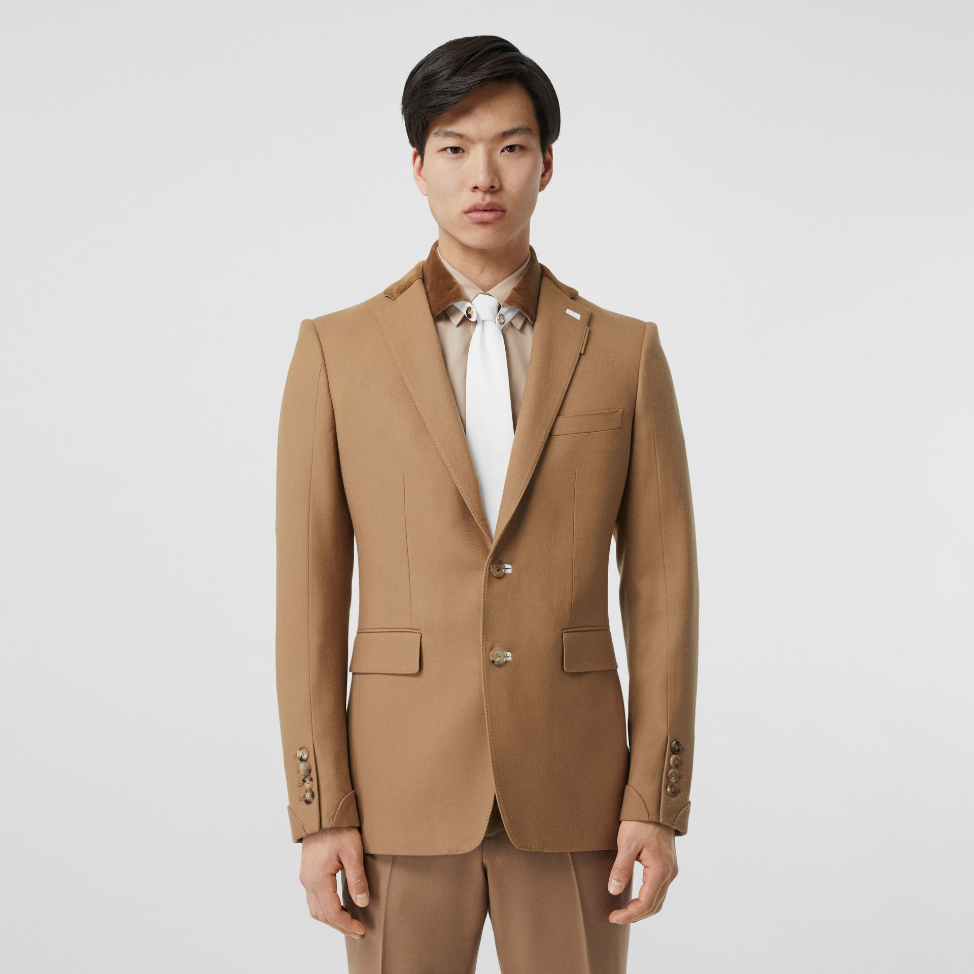 English Fit Velvet Collar Wool Flannel Tailored Jacket in Warm Camel - Men | Burberry - gallery image 0
