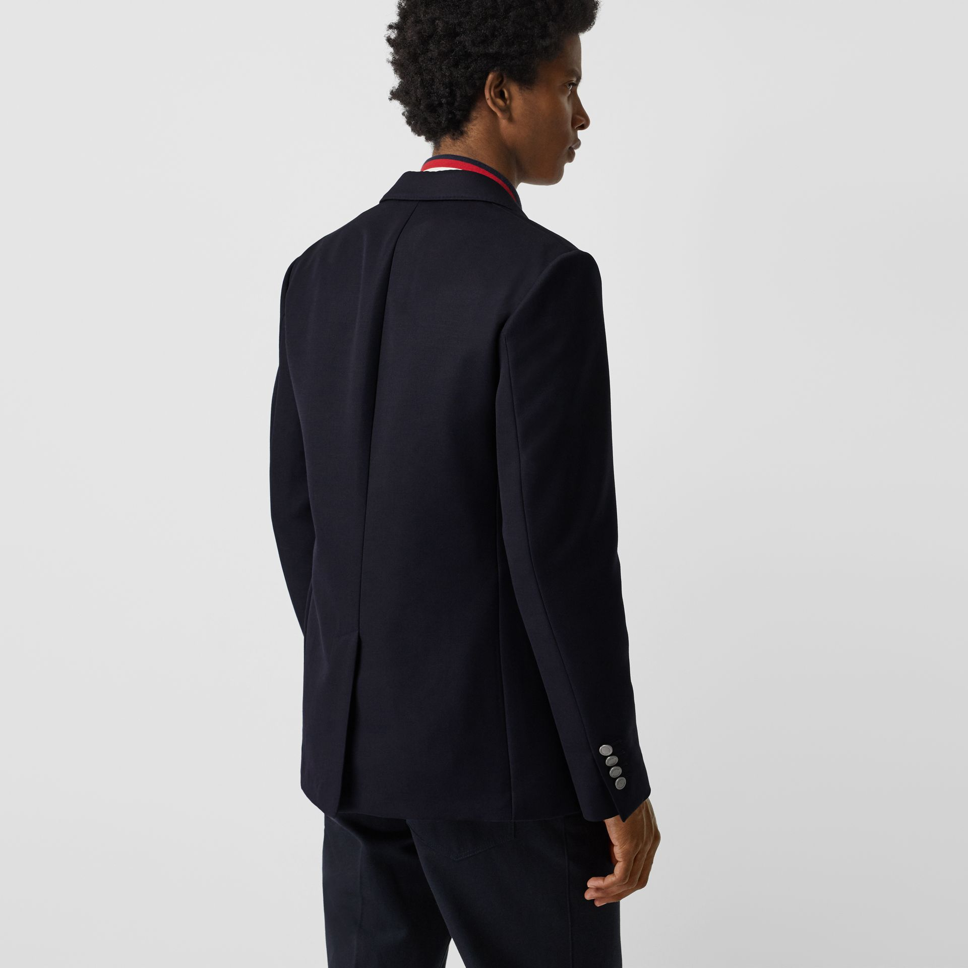 Slim Fit Metal Button Wool Gabardine Blazer in Navy - Men | Burberry - gallery image 2