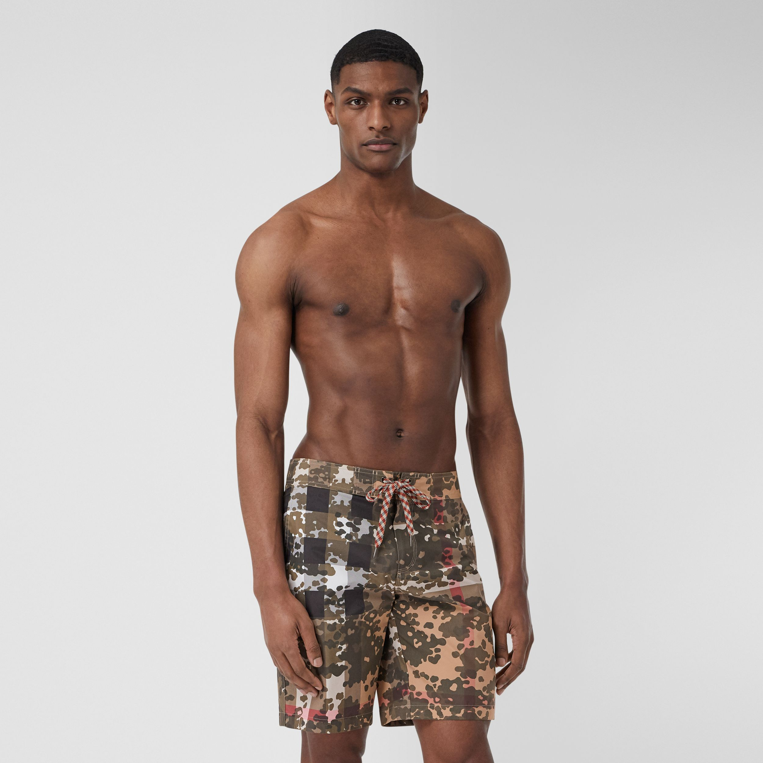 Camouflage Check Swim Shorts in Archive Beige - Men | Burberry - 1