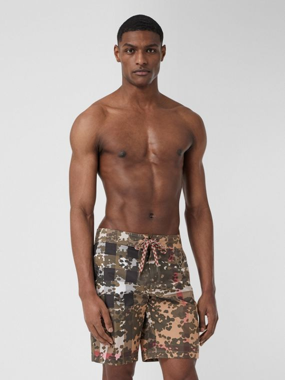 Camouflage Check Swim Shorts in Archive Beige