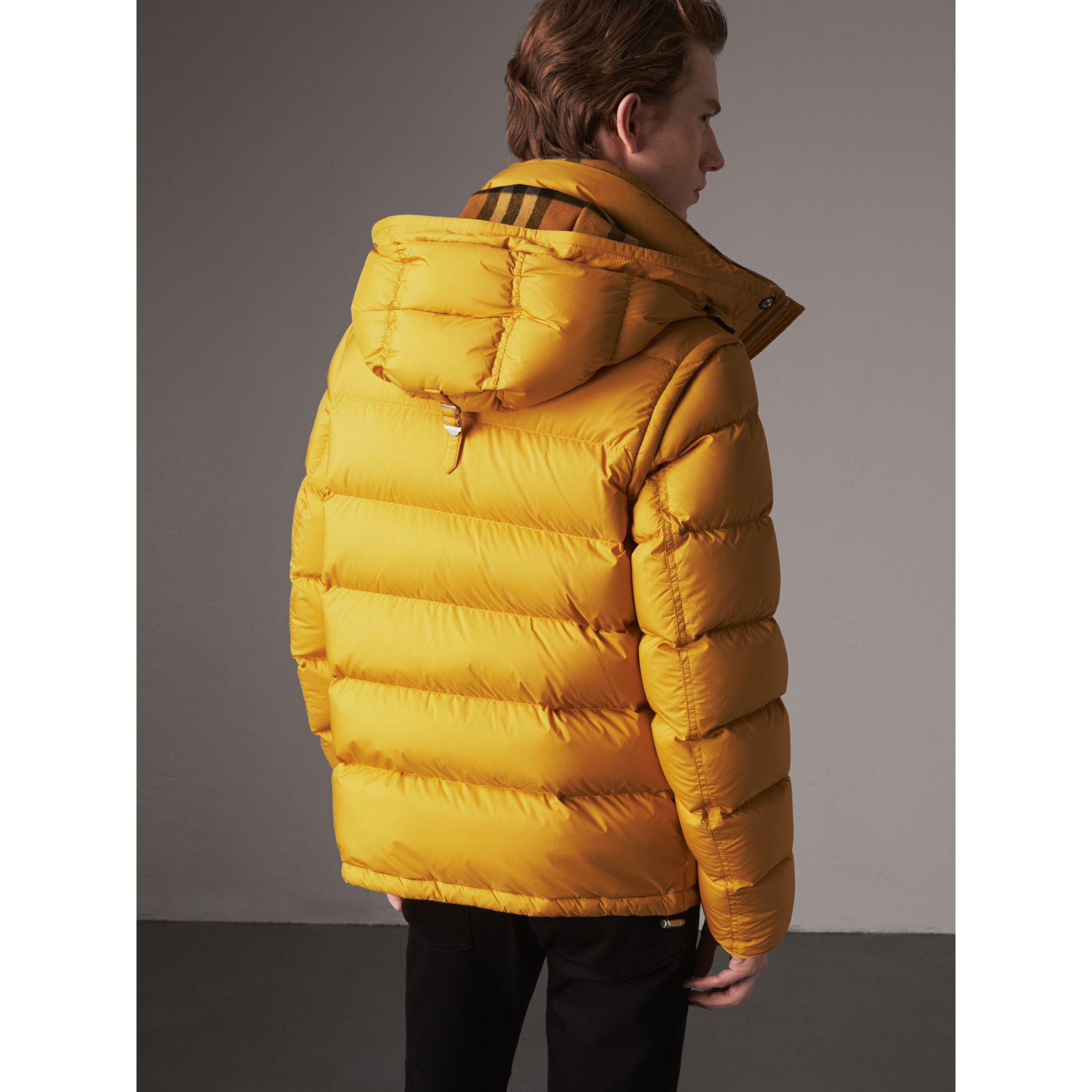 Detachable-sleeve Down-filled Puffer Jacket in Amber Yellow - Men | Burberry United Kingdom - gallery image 3