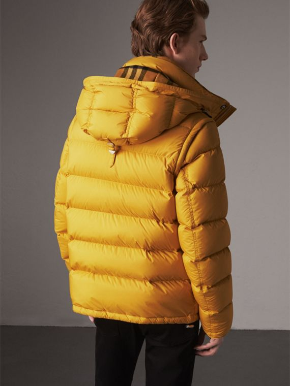 Detachable-sleeve Down-filled Puffer Jacket in Amber Yellow - Men | Burberry United Kingdom - cell image 2