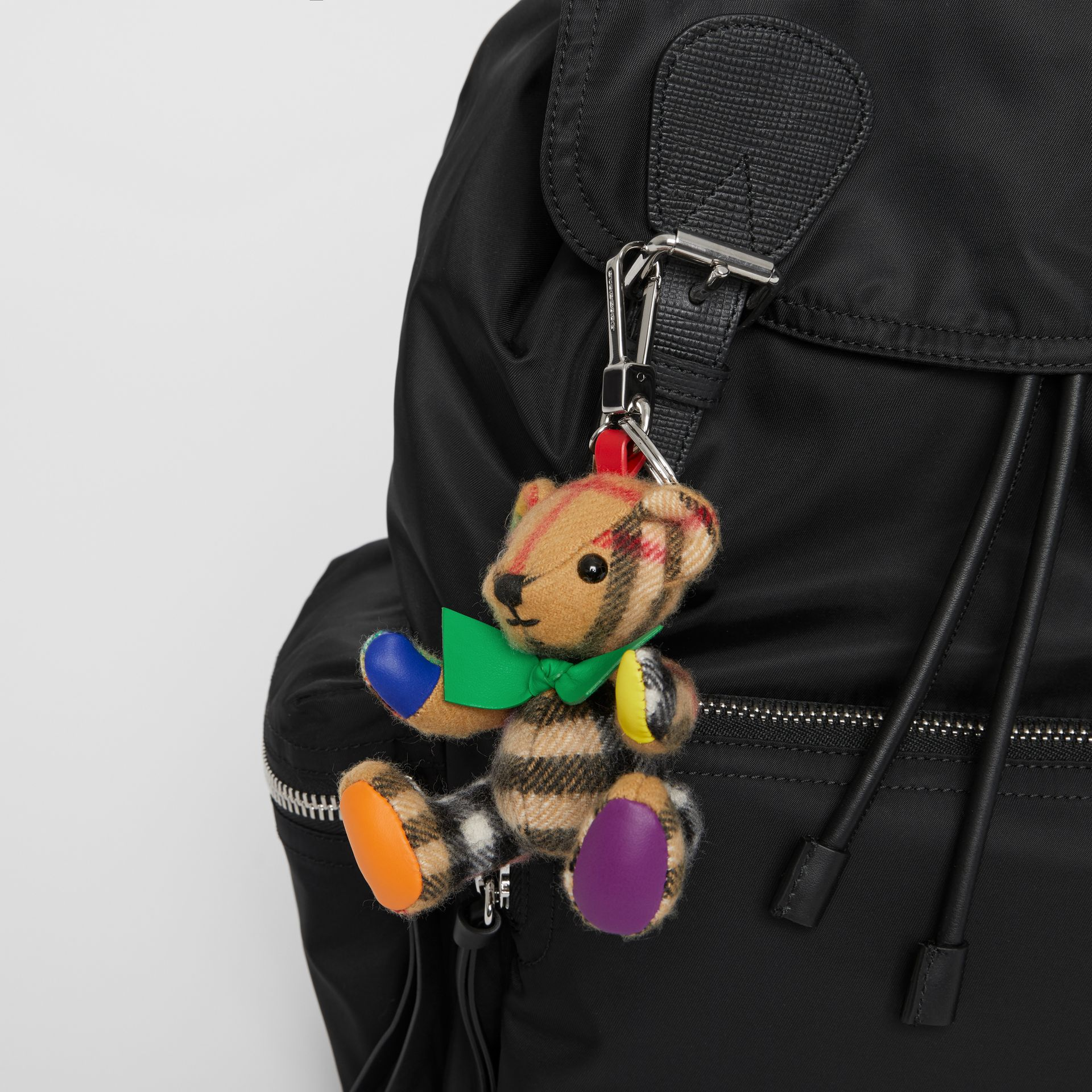 Thomas Bear Charm in Rainbow Vintage Check Cashmere in Multicolour/ Antique Yellow | Burberry United Kingdom - gallery image 2