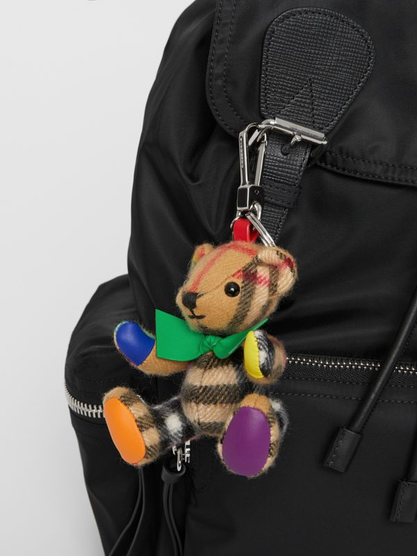Thomas Bear Charm in Rainbow Vintage Check Cashmere in Multicolour/ Antique Yellow | Burberry United Kingdom - cell image 2